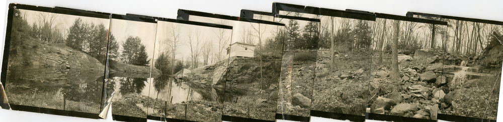 Left: The quarry pool.  Center: Dragon Rock, location of the main building.  Right: The waterfall.                                                                  Courtesy of Manitoga inc.