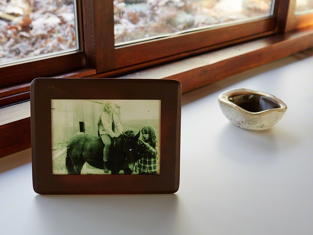 Left: His daughter Annie on horseback. Right: Wrights Bauer pottery