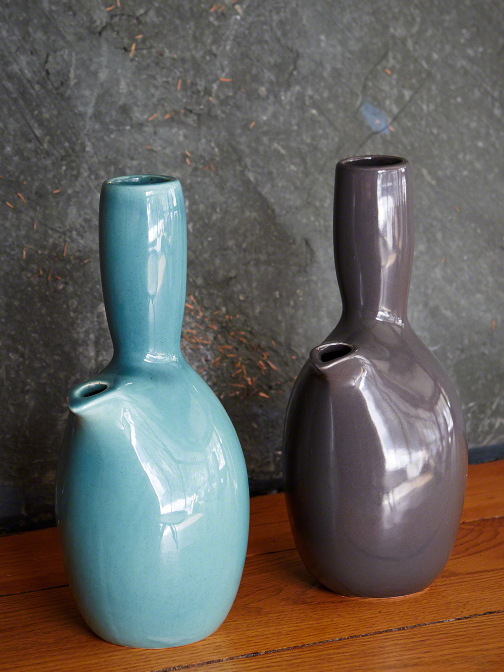 Iroquois Casual China carafes, turquoise and charcoal.