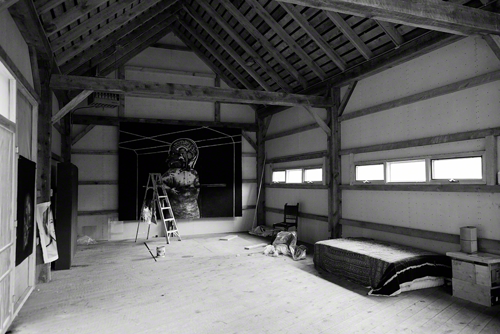 A work in progress. Velk converted the old barn into his studio.