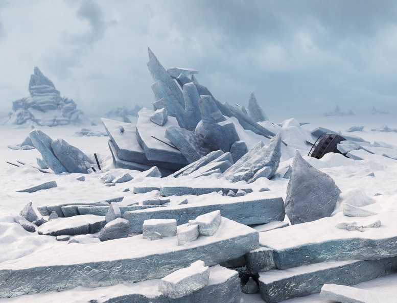 The Sea of Ice, 3D photo realistic rendering by Mathias Kessler