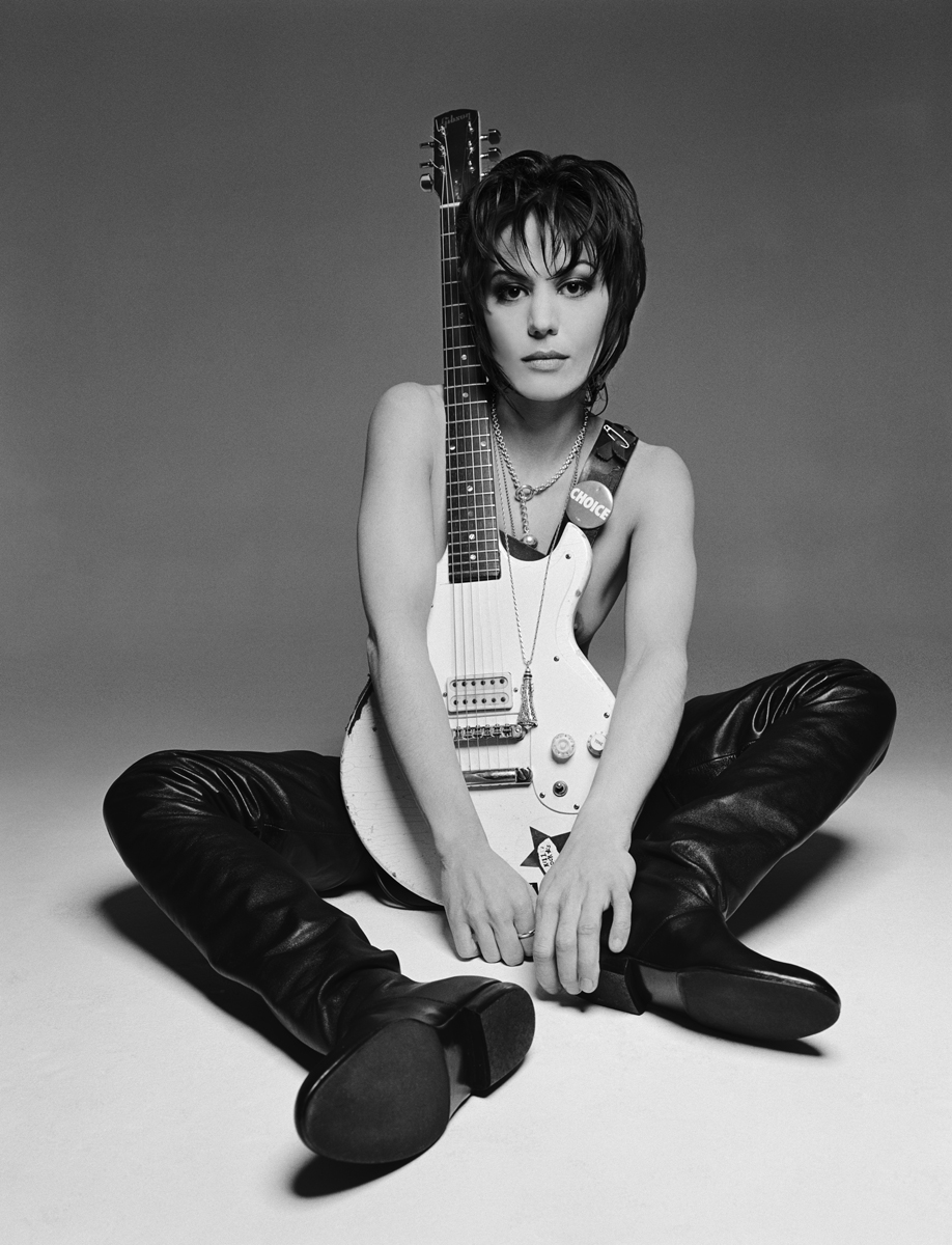 "Joan Jett, 1994. Shot for the album 'Pure and Simple' with the legendary glam squad Linda Mason for makeup & the late ""Michelangelo with scissors"", John Sahag. Courtesy of George Holz Studio."