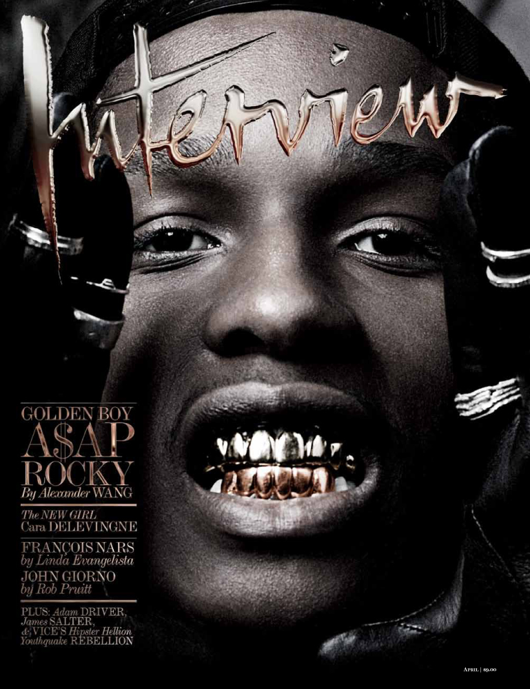 A$AP ROCKY on Cover of Interview magazine. Fashion Editor: Sarah Ellison-Prat Ph: Craig McDean