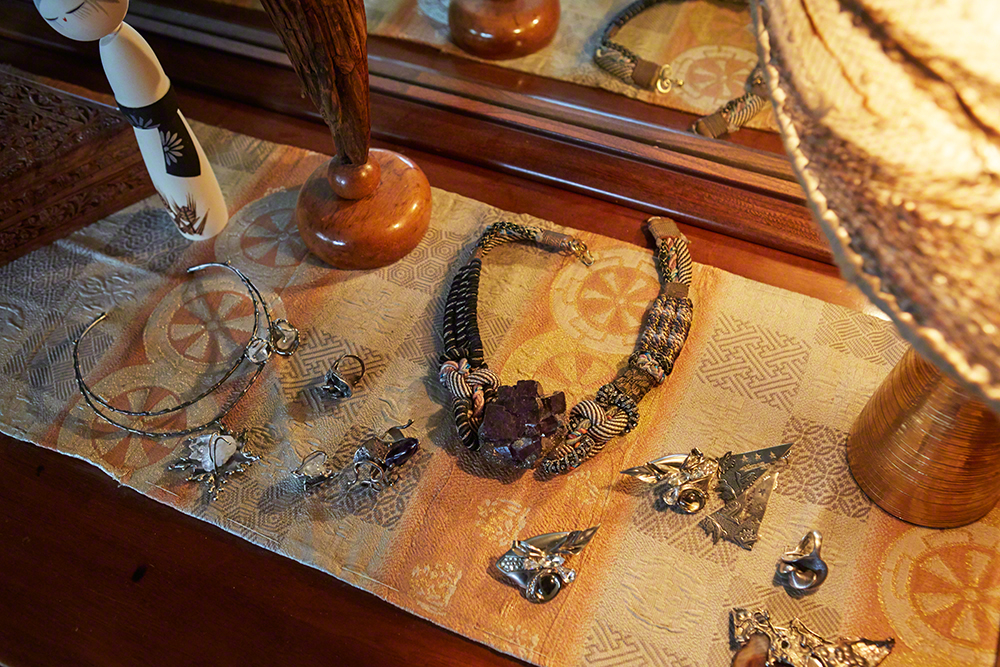 A collector at heart:  70's-80's Studio Jewelry, big crystal necklace is by Alex & Lee, legendary 70's artists from San Francisco, Salvador Dali was a fan as well and use to wear their pieces.