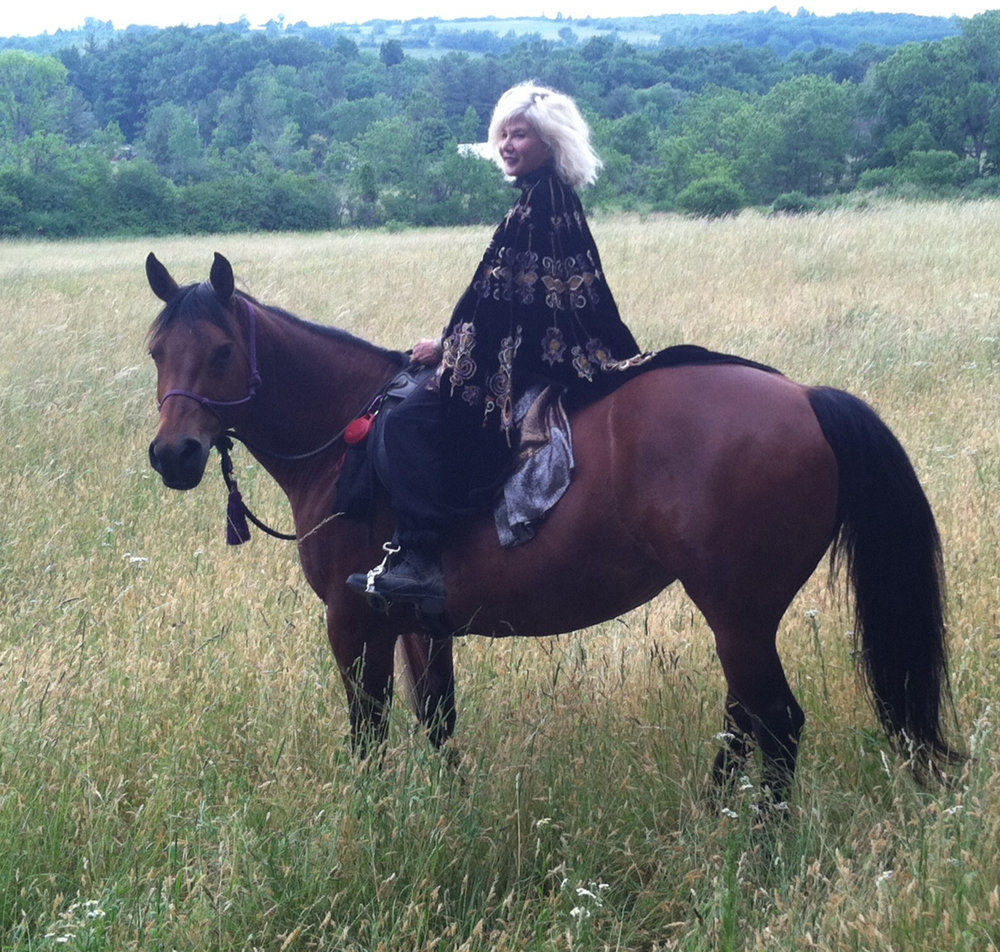 Tama riding Fox, her 11 year old quarter mare, at her farm in a small village in Schuyler County, NY. Photo courtesy of Tama Janowitz