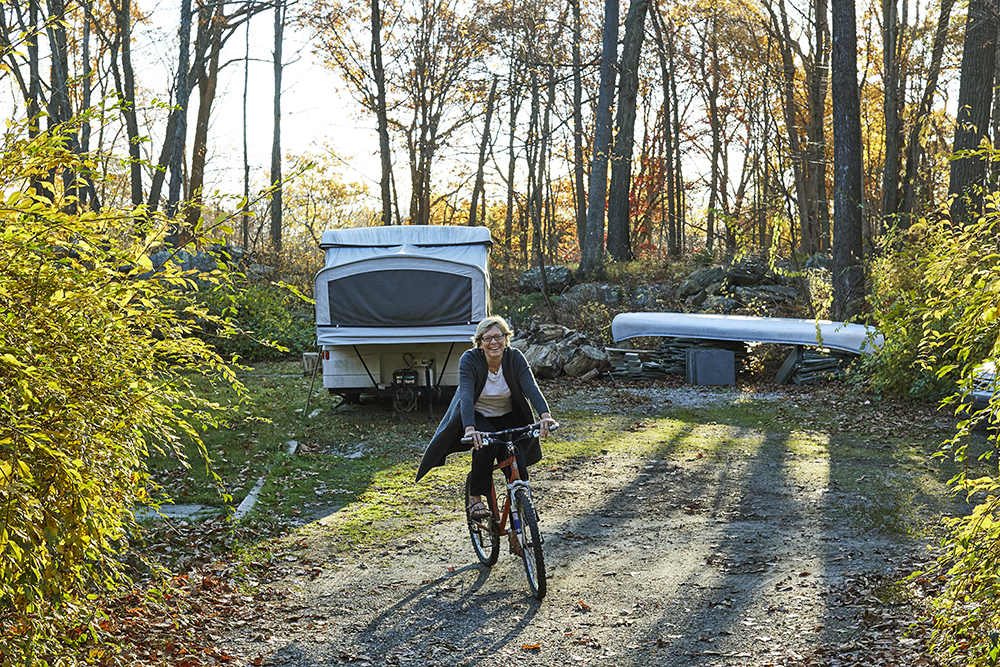 Laura Hawk on her property in Pound Ridge, NY.  Ph: William Abranowicz.