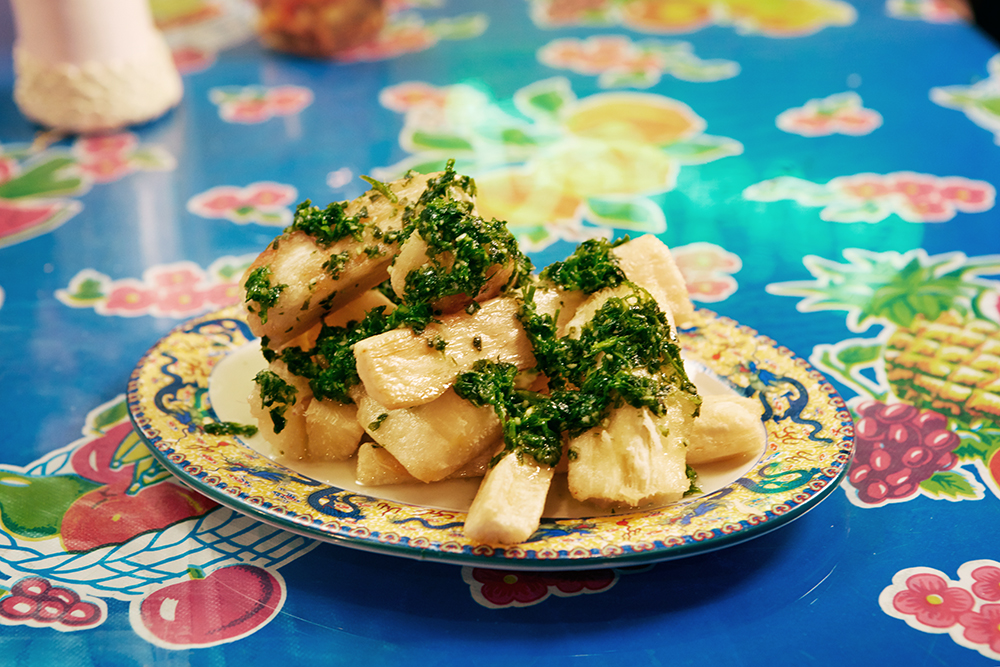 Yucca frita: A classic Caribbean snack served with garlicky chimichurri.
