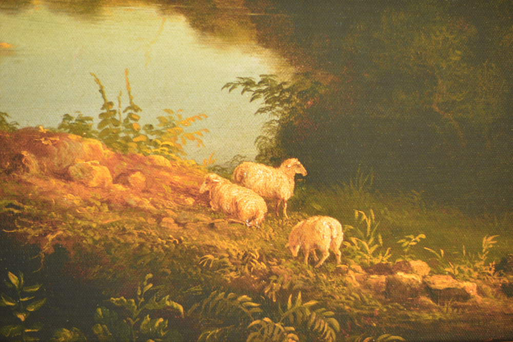 View Near the Village of Catskill , 1827 (Detail) by Thomas Cole, reproduction by Geoff Howell Studio.