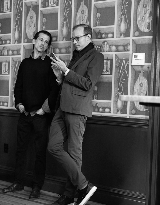 Elegant guys: Artist and Penumbra Obscura co-founder, Marko Velk, with Colin Winter Bayly.