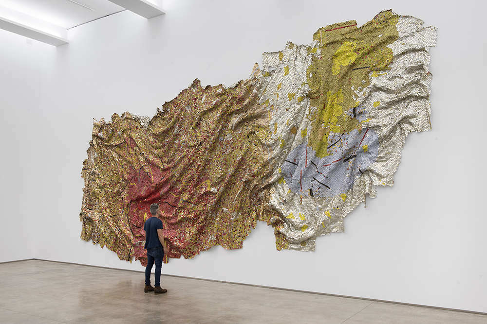 Gravity and Grace, 2010 by El Anatsui.  Courtesy of Jack Shainman Gallery.
