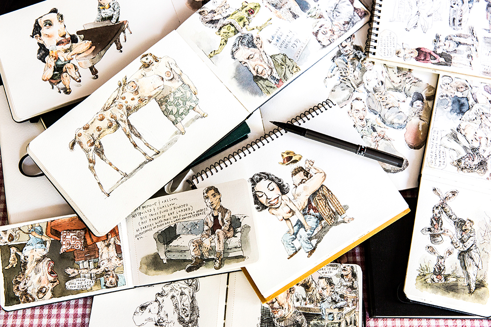 A few of many sketch books by Cuneo.
