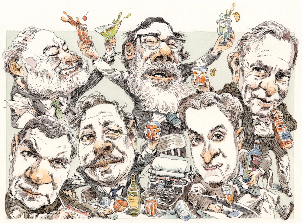 Alcoholic writers. For the cover of the NY Times Book Review