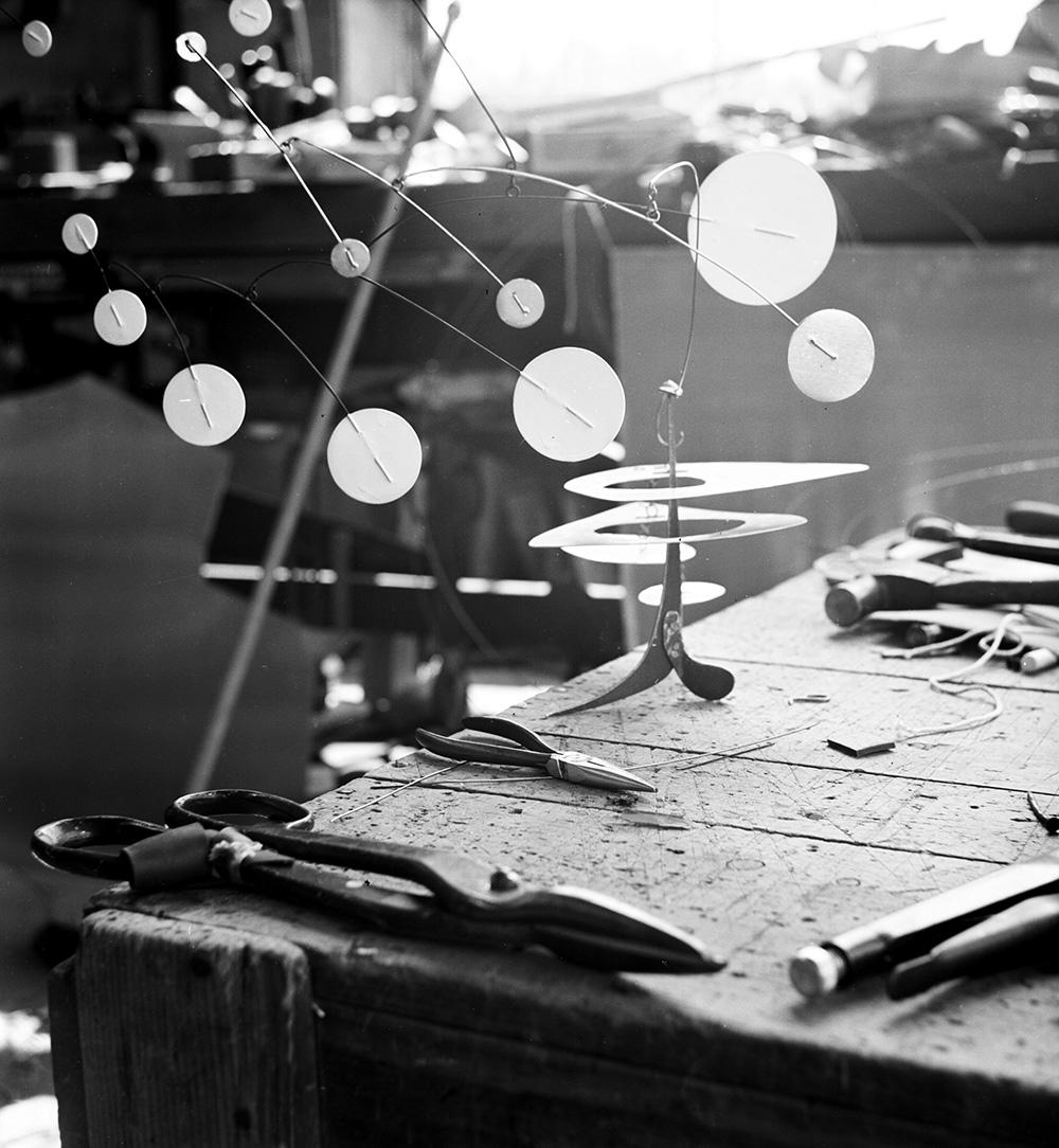 Standing mobile with tools, Roxbury studio, 1947.
