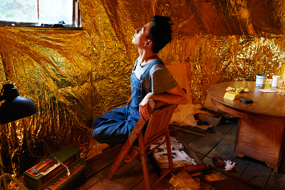 """Koh soaking up the golden reflection in their """"room in outer space."""""""