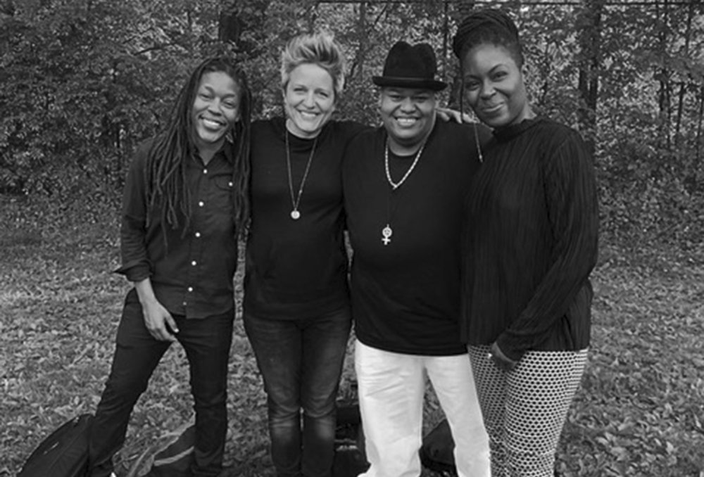 Musicians who hang together, stay together: Ganessa James,  Allison Miller, Toshi Reagon and Juliette Jones. Ph: YK Hong, courtesy of Toshi Reagon.