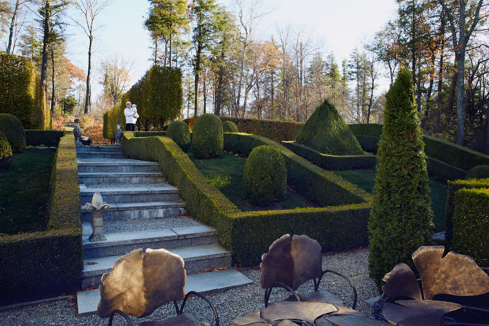 """ Miranda Brooks  did the original layout of the gardens from the road to the house along with the paths and the edges. The actual planting, upkeep and maintenance is done by  Clive Lodge  who also redesigned the boxwood edges and gave them their distinctively French feelings..."""