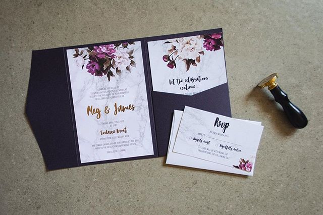 MEG + JAMES // Custom designed for a beautiful April wedding last year. Marble detail with rose gold foiling on white linen card with Mulberry pocket. • • • • • #marble #rosegold #metallicfoiling #graphicdesign #weddingstationery #australia #wedding #invitations #floral #creative #design #interiordesign #smallbusiness #style #elegant #inspiration #luxe #modernbride #engaged #love @m_lcurnow