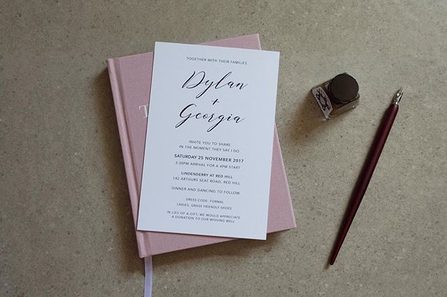 Minimal black and white invitations for Dylan and Georgia's Red Hill Wedding • • • • • #graphicdesign #weddingstationery #australia #wedding #invitations #flatlay #creative #design #interiordesign #smallbusiness #style #modernbride #minimal #designinspiration #engaged #blackandwhite
