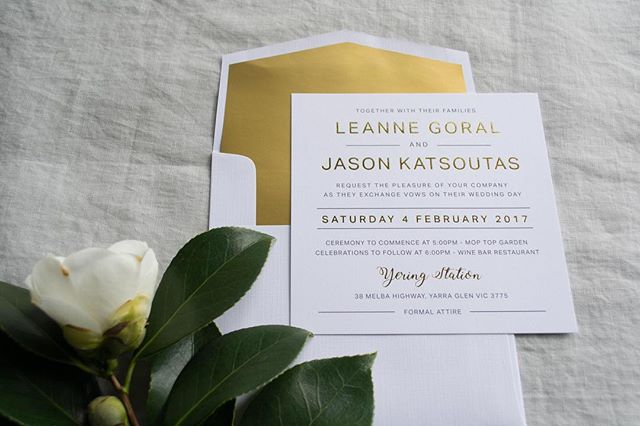 MODERN ROMANCE // The classic combination of gold foil on soft white textured card 💕 • • • • • #graphicdesign #australia #weddingstationery #invitations #flatlay #creative #design #smallbusiness #magnolia #goldfoil #luxe #modernromance #luxury #engaged #love #wedding #white #lettering