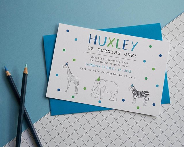 ONE // This cute custom invite for a special little boys first birthday last year 🦒🐘🦓 • • • • • #graphicdesign #australia #birthdayparty #invitations #flatlay #creative #design #smallbusiness
