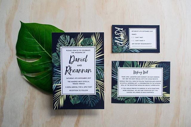 TROPICAL PALMS // The perfect choice for a tropical destination wedding 🌴🐠☀️ • • • • • #graphicdesign #australia #wedding #invitations #flatlay #tropical #greenery #destinationwedding #vacation #jungle #beach #creative #design #smallbusiness #weddingstationwey #monstera