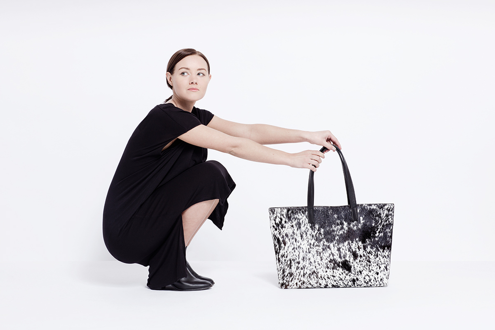 Salt + Pepper Cowhide Tote