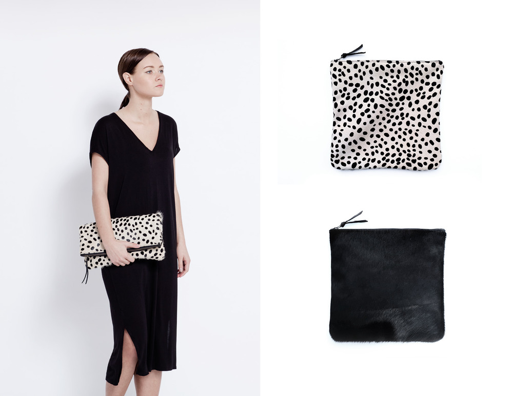 Cowhide Fold Over Clutch - Cheetah Print Cowhide + Black Cowhide