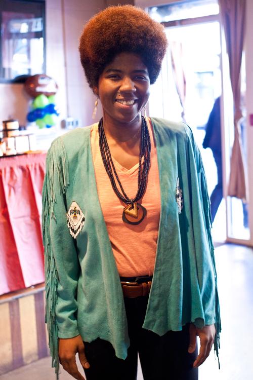 Catherine Harris-White of THEESatisfaction and Bettie Brown Market creator in her new Afrobeatnik jacket.