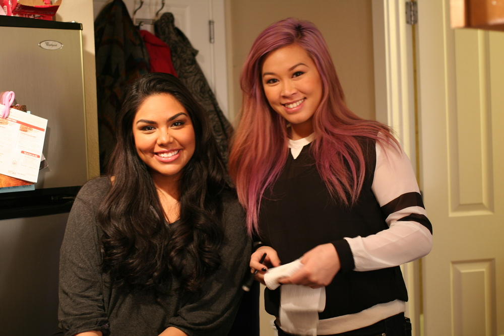 Our adorable model Samantha Ayala posing with equally adorable makeup and hair artist Grace Fong.