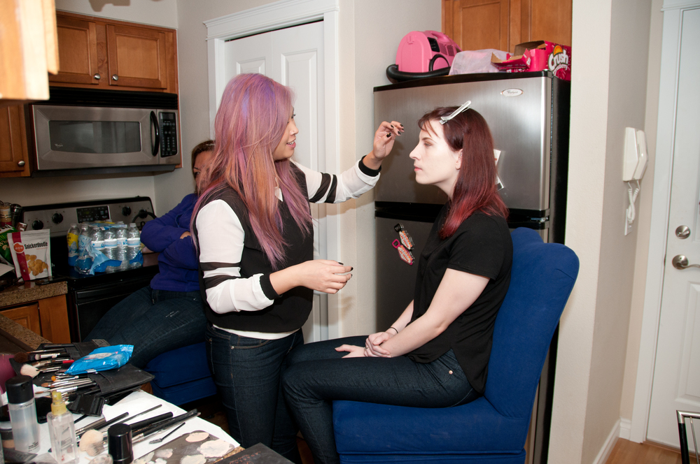 Makeup artist Grace Fong glaming up our model Ellie.