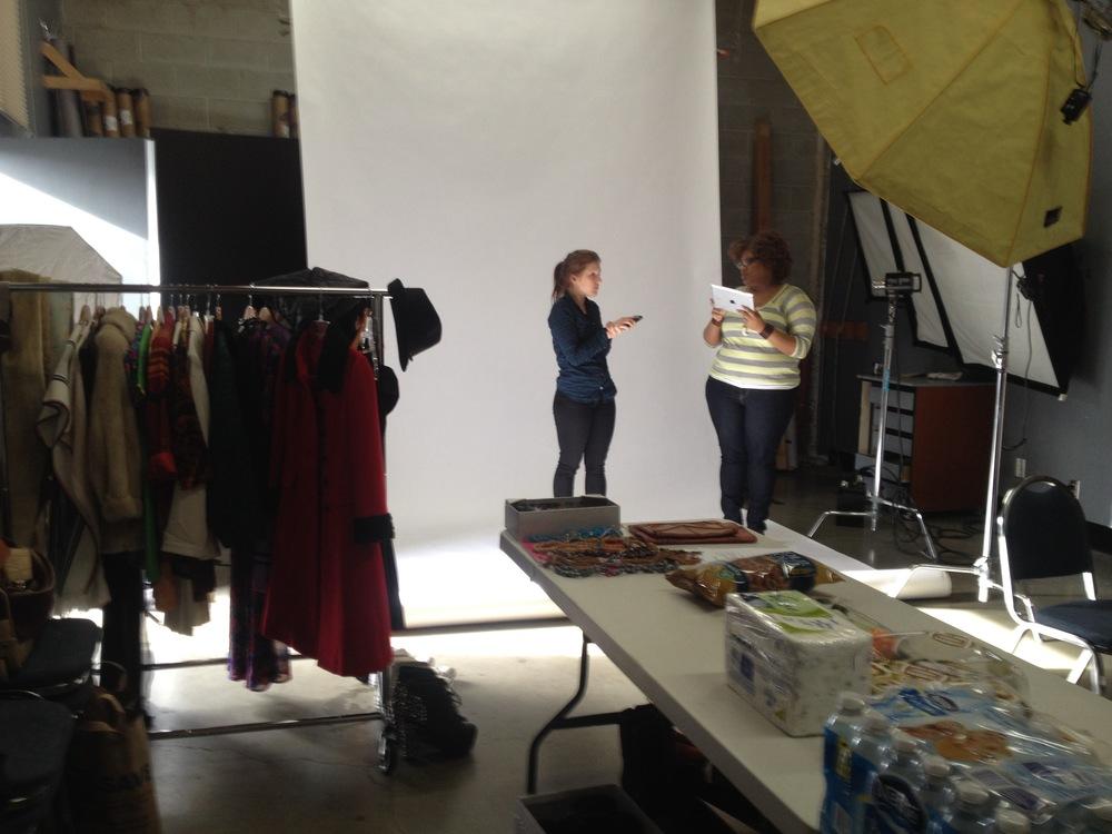 Videography assistants Allison Matthews and Kieanna McCloud on set.