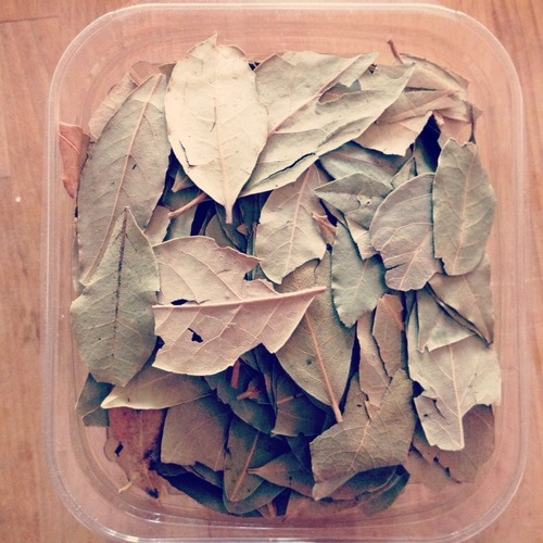 2 bay leaves. (I am convinced I will have this container of bay leaves for the rest of my life. How do you get rid of bay leaves?!)