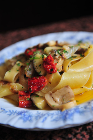 Pappardelle Alla Boscaiola    Hand cut pasta with fried eggplant, sundried tomatoes and mushrooms