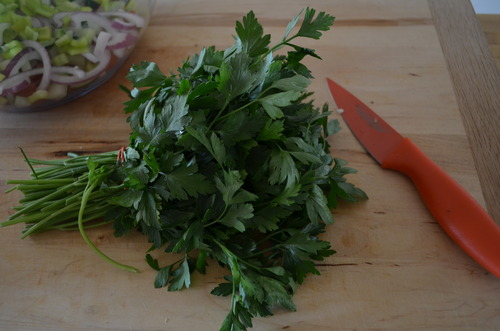 A cup of chopped parsley.