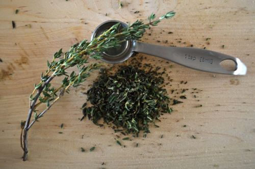 Finely chop some thyme; this is what fresh thyme looks like.