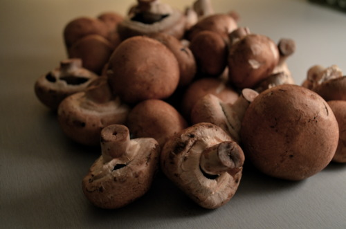 These are the cremini mushrooms, the more sophisticated white button. They're firmer and have more flavor.