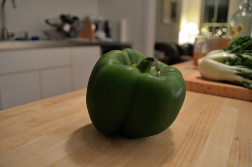 Such as: MR. GREEN PEPPER. Chop it up.