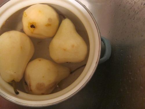 Peeled pears.