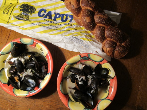 It's a (sexy) mussels date night.  As an aside, if you click on my Neighborhood page, you can read all about the history of Caputo's Bake Shop!