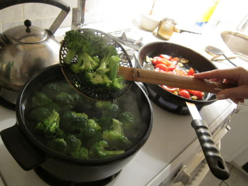 Parboil the broccoli. Go by color. You want it to turn a bright green. It'll happen fast so watch it.