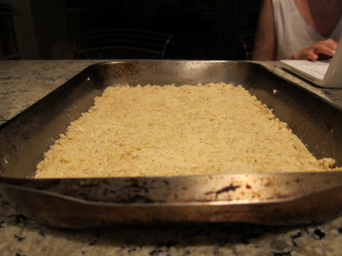 Grease a pan. Pat 3/4 of the crumb mixture down into it.