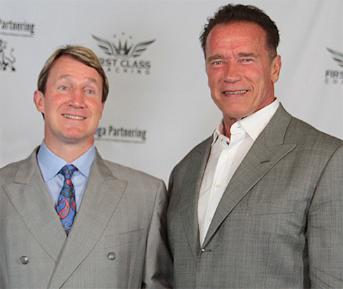 Sharing the stage with Arnold Schwarzenegger in Los Angeles, 2013