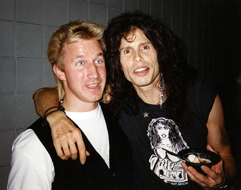 Sharing a laugh with Steven Tyler. 1994
