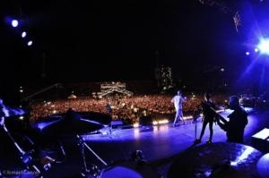 Calle 13 en el Estadio Santa Laura deSantiago de Chile.