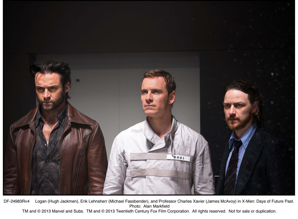DF-24983Rv4   Logan (Hugh Jackmen), Erik Lehnsherr (Michael Fassbender), and Professor Charles Xavier (James McAvoy) in X-Men: Days of Future Past.