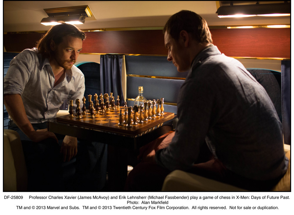DF-25809   Professor Charles Xavier (James McAvoy) and Erik Lehnsherr (Michael Fassbender) play a game of chess in X-Men: Days of Future Past.