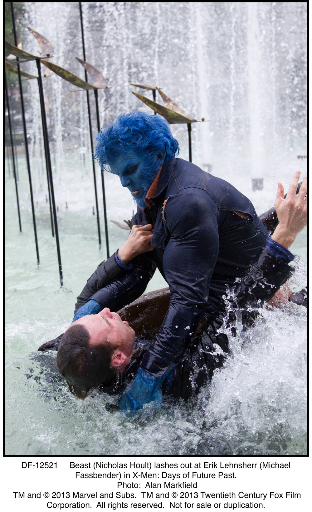 DF-12521   Beast (Nicholas Hoult) lashes out at Erik Lehnsherr (Michael Fassbender) in X-Men: Days of Future's past.