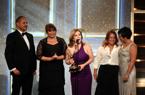 BEVERLY HILLS, CA - JUNE 22:  Producers accept Outstanding Morning Program in Spanish for 'Un Nuevo Dia' onstage during The 41st Annual Daytime Emmy Awards at The Beverly Hilton Hotel on June 22, 2014 in Beverly Hills, California.  (Photo by Michael Buckner/Getty Images)