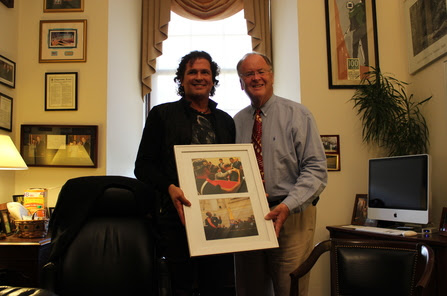 Photo Courtesy of the Offices of Congressman Sam Farr (from left to right):   Carlos Vives and Congressman Sam Farr, California, in Washington D.C.