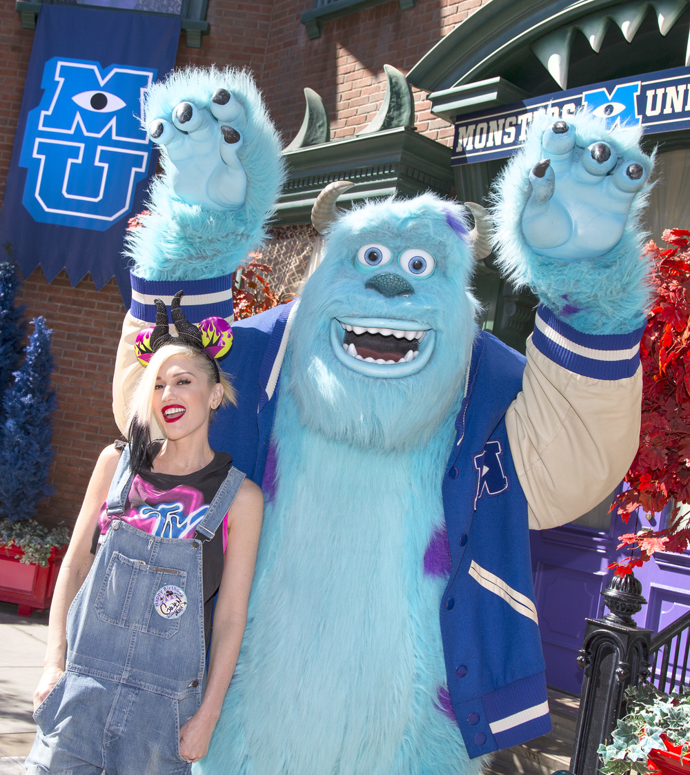 (October 6, 2014) Gwen Stefani meets Sulley from the Disney-Pixar films 'Monsters, Inc.' and 'Monsters University' at Disney California Adventure park in Anaheim, Calif., on Monday. The 'Halloween Time' celebration at the Disneyland Resort, which features special attractions, decor and entertainment, continues through October 31, 2014. (Paul Hiffmeyer/Disneyland Resort)